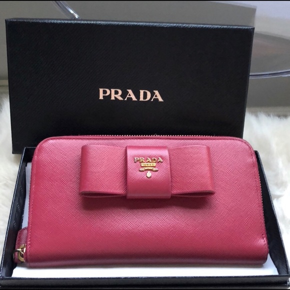6f4a6906e97 Prada Pink Saffiano Leather Zip Up Wallet with Bow